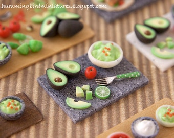 Making Guacamole Prep Board - in Grey 1/12 scale dollhouse miniature
