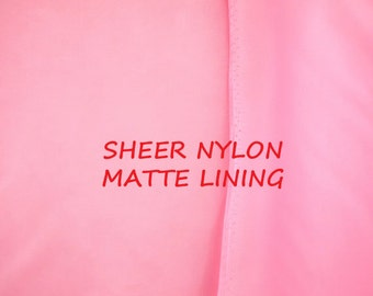 3/4 YARD, MATTE LINING, Bubble Gum Pink, Plain Weave Fashion or Craft Fabric, Sheer Lightweight Nylon, B12