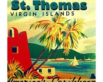 St Croix Art, St Thomas Art St John Art Deco Decor 12x12 20x20 St Thomas Gift Vintage Virgin Islands Art Island Art St Croix Art Travel Gift