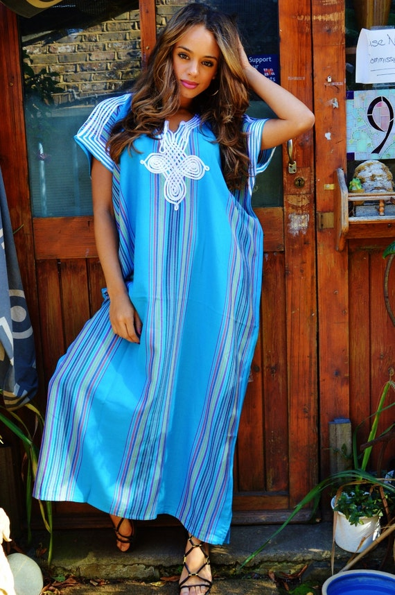 Bridesmaid gift, bridesmaid robe, Turqouise Blue Bedouin One Size Resort Kaftan-wholesale, moroccan kaftan, beach wedding, bridal shower