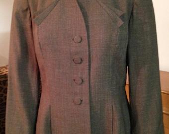 1940s Blazer Jacket Brown Gabardine Wool Lined WW2 Greta Garbo Small Jacket Daniels & Fisher