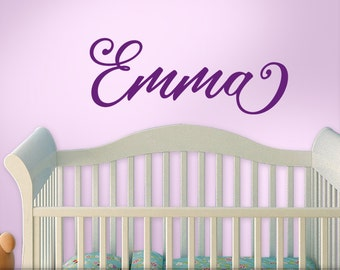 Personalized Name Decal, Baby Nursery Custom Name, Nursery Wall Decal, Script Font Emma (shown) - 10 Letters Max (0171b28v-r3)