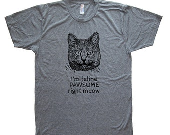 Funny Cat Mens T Shirt - Mens / Unisex Graphic Shirt - Soft Tri Blend Heather Gray - Made in the USA Hand Printed Size S M L XL