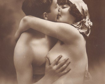 Nude Couple Romance French Postcard, circa 1910s/'20s