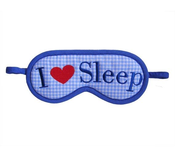 I Love Sleep, I heart sleep eyemask, heart embroidery sleep mask, checked pattern, text sleepmask, sleeping eye mask, gift for her under 20