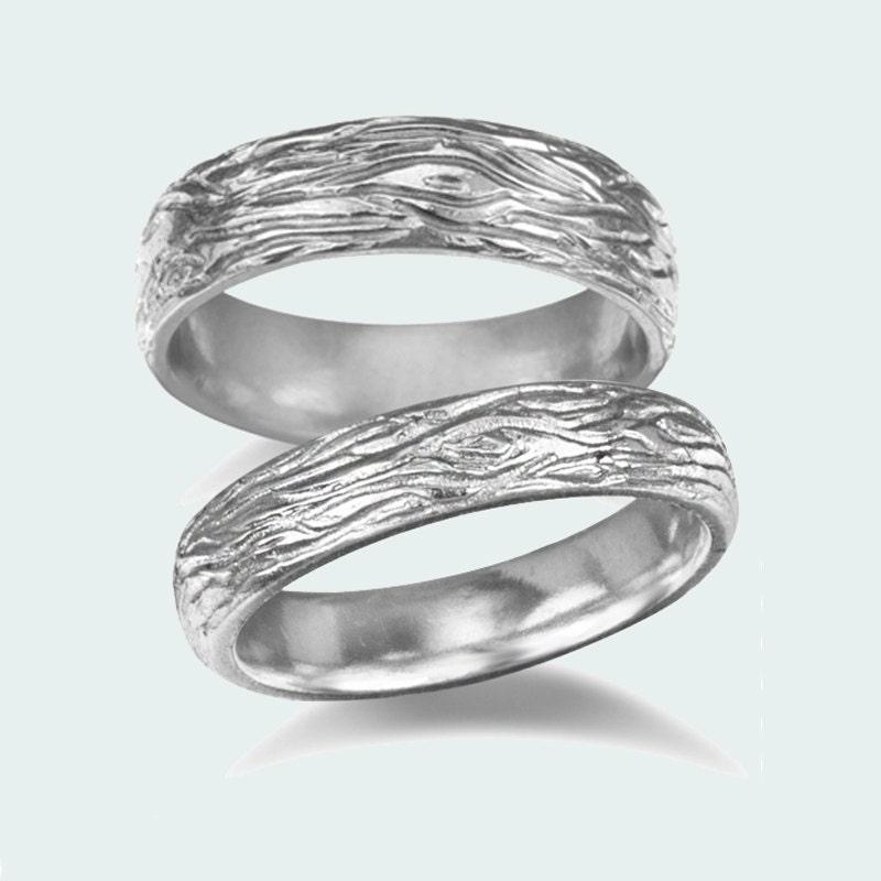 wedding band set 14k white gold wood bark wedding rings