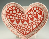 Heart Shaped Dish Red and White Hand Painted Anniverary, Wedding, Valentine Gift