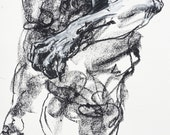 """Original Abstract Male Nude Drawing - Drawing 389 - 9 x 12"""" charcoal and pastel on paper - original drawing by Derek Overfield"""