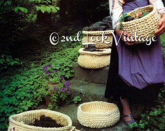 Vintage Crochet Pattern Baskets Sisal Rope Sculpture 1970s Digital Download PDF