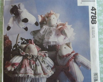 Fat Cat Doll and Clothes Package by Faye Wine UNCUT McCalls Crafts Pattern 4788 Vintage 1990's