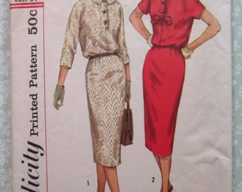 Misses One-Piece Dress with Slim Skirt Size 14 Bust 34 Vintage 1950's Simplicity Pattern 2620 Cut/Complete