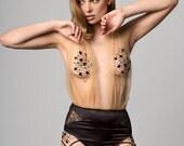 BRIDGET Black silk and Nude tulle halterneck suspender bodysuit, pin up embellished bodysuit