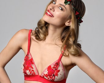LEIANA Candy Apple Red silk satin embroidered peek a boo Bra with jewel buttons