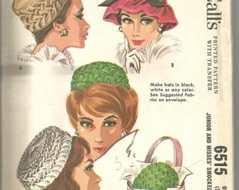 1960s Hats Millinery Smocked Pillbox Hats Size 21.5 - 22.5 McCall's 6515  Uncut FF Women's Vintage Sewing Pattern Vintage Hat Pattern