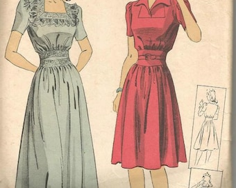 1940s Evening Day Dress Midriff Insets Square Neck or V Collar Short Sleeves Vestee DuBarry 5458 Bust 32 Women's Vintage Sewing Pattern