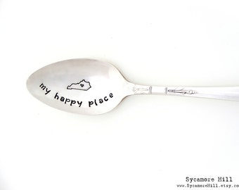 My Old Kentucky Home Spoon.  My Happy Place. The ORIGINAL Hand Stamped Vintage Teaspoons™.Horse Country. Kentucky Derby. State Teaspoon.