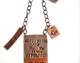 Have a Sip and Meet Me at the Waterfall!  CUSTOM PERSONALIZED Bottle Tag. Wedding Day Gift for Groom. Unique Idea for Groom's Gift.  Liquor