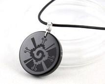 Maya Pendant, Gemstone Pendant, Agate Pendant, Maya Spiral, Mayan Jewelry, Yoga Jewelry, Yoga Style, Simply Stoned, Maya Symbol, Hunab Ku