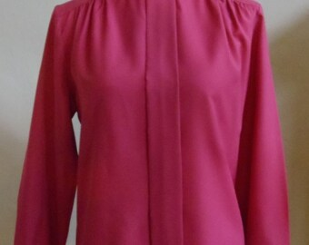"Vintage 80's Cape Cod Sportswear Long Sleeved Maroon Blouse with Standup Crinkled Collar Bust 40"" Waist 38"""