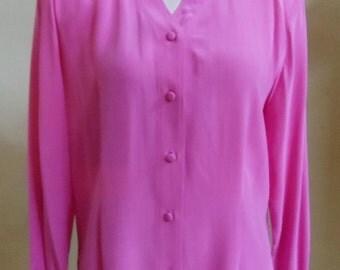 "Vintage Alexandria Long Sleeved Silk Fuchsia Blouse with V-Shaped Neckline Bust 44"" Waist 38"""