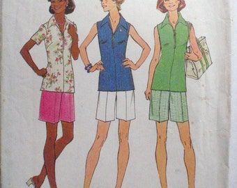 Jiffy Zip Front Top and Walking Shorts Sewing Pattern - Simplicity 6937 - Size 16, Bust 38
