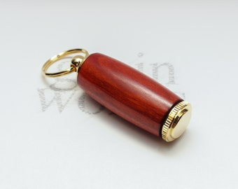 Redheart Wood Deluxe Pill Holder Key Chain with 10K Gold Accents (Gift Ready)