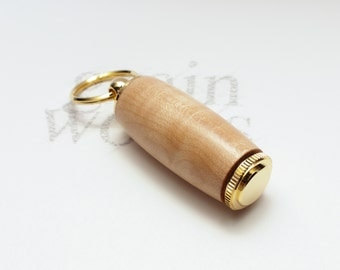 Deluxe Pill Holder Key Chain - Quilted Sugar Maple Wood with 10K Gold Accents (Great Birthday Gift)