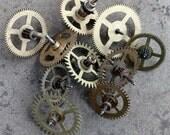 Vintage clock brass gears -- set of 10 -- D1