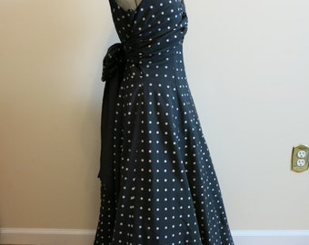 Dress black POLKA DOT gown white crinoline rockabilly 1950s style big bow M