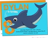 Shark Party Invitations | Shark Birthday Party Invitations | Shark Invitation | Shark Party Invitation | Shark Invites #5002