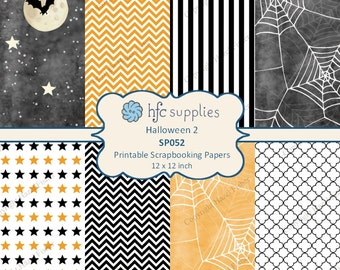 Halloween Scrapbook Paper Set - printable patterned papers, spider web, night sky with bats, black, white, orange - Digital Download SP052