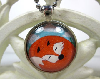 Sleeping Red Forest Fox, Foxy Silver Round Art Glass Pendant Necklace Handmade OOAK