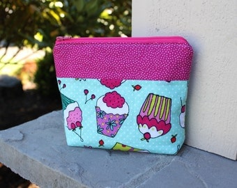 Cupcake Zippered Pouch - Pink and Teal Cupcake Makeup Case - Small Padded Zipper Pouch - End of the Year Teacher Gift - Sweet Fabric Pouch