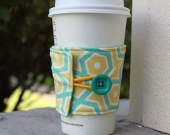 Coffee Cup Cozy - Teal and Yellow Geometric - Reusable Coffee Sleeve - Coffee Shop Cardboard Cup Sleeve - Coffee Lover Gift - Shower Favor