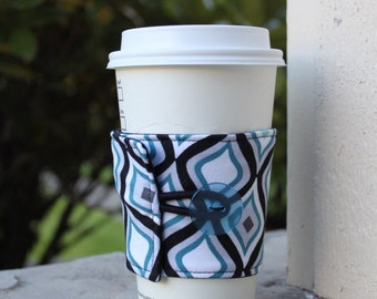 Male Friendly Coffee Cozy / Fabric Drink Sleeve - Gender Neutral - Blue and Black Geometric - Secret Santa White Elephant Stocking Stuffer