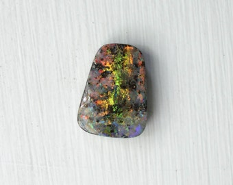 Australian Boulder Opal with Yellow Orange Green Play of Color, 7.89 carats