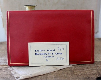 Vintage 1950's red leather wallet Leather School Monastery of S. Croce Florence Italy