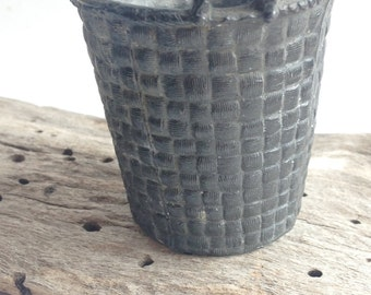 vintage french cast metal miniature basket match holder detailing