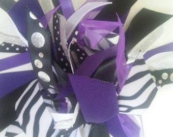 Custom Ponytail Holder for Rebelz T Tumbling Team - Purple/Black/Silver