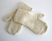 Ivory Knit Mittens