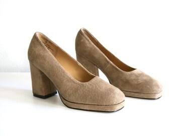 Suede Tan Heels 8