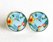 Tropical Birds studs, Tropical Birds earrings, Tropical stud earrings, Two Birds studs, Yellow Red Blue Green earrings, Flowers studs