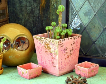 Vintage Pink / Gold Ceramic Planter & Candle Holders 3-Pc Set: Mid Century California Art Pottery -- Garden / Table Centerpiece Arrangement