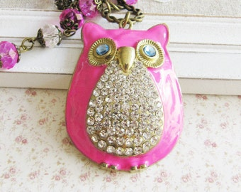 Pink owl necklace, large pendant necklace, crystal beaded necklace, pink jewelry, for her, owl jewelry, romantic jewelry