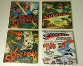 Superhero Superman Movie Tile Ceramic Coasters Handmade Set Four Old Superman Movies Drink Barware