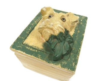 Scottie Dog Chalkware Trinket Keepsake Lidded Box, Jewelry, Dog Treats, Office Supplies - Vintage Storage Box