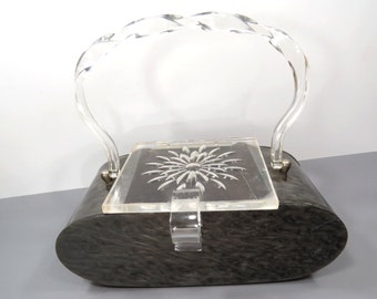 1950s Marbleized Lucite Purse, Carved Flower Lid, Marble Gray with Clear Lucite Handle & Lid, High Fashion Retro Handbag