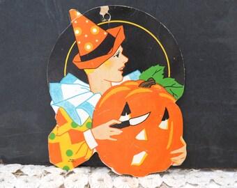 Art Deco Halloween Flapper Die Cut, Jack O Lantern, Vintage Halloween Decor, Ephemera