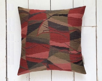 Geometric Red and Olive Vintage Japanese Kimono Fabric Pillow Cushion 'Abstract Branches'