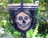 Skull Hanging Planter - ceramic garden vase home decor
